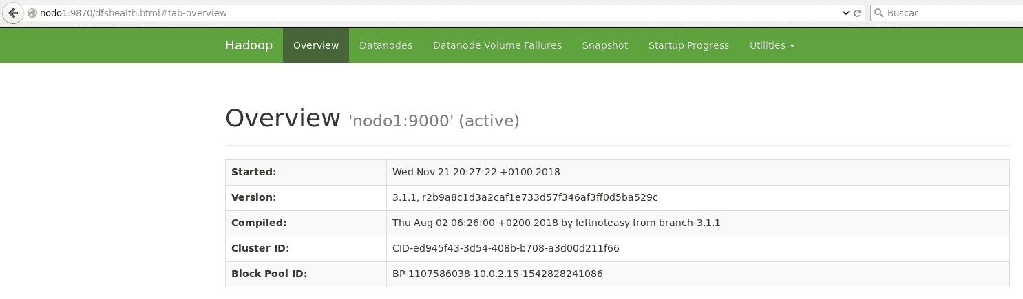 hadoop hdfs pantalla inicial
